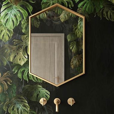 Bathroom Origins Docklands Hexagonal Mirror - Brushed Brass